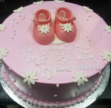 Baby Shower Strawberry Cake with Shoes toppings BS103