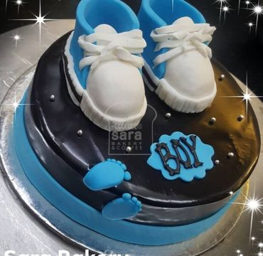 Baby Shower Chocolate Cake with Fondant Shoes toppings BS105