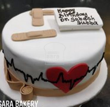 Fondant cake with heart and bandaid MD106