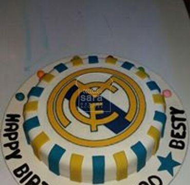 Real Madrid Logo Print Fondant Cake SP116