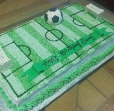 Football Ground Theme Cream Cake SP114