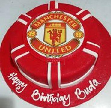 Manchester Logo Print Vanilla Cake SP109