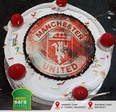 Manchester Logo Print Vanilla Cake SP108