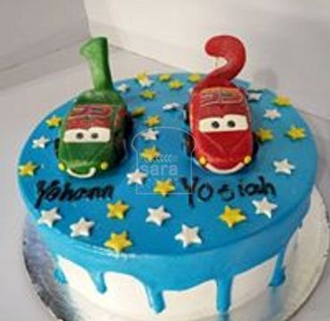 Blue Color Cake with Cars on top HM286