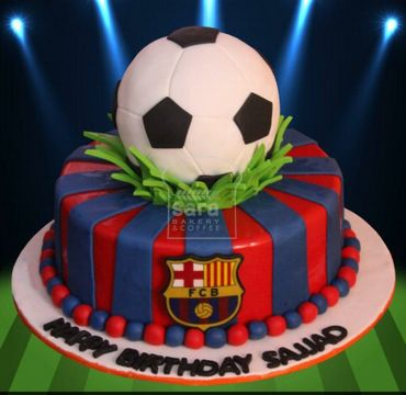 Fondant Cake with Barcelona logo and football on top SP100