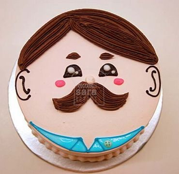Vanilla Cake with moustache face FD107
