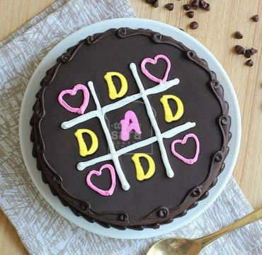 tictactoe chocolate truffle cake for Dad FD110