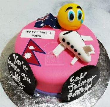 Fondant Farewell Cake with Emoji FW107