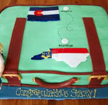 Green Suitcase Farewell Cake FW113