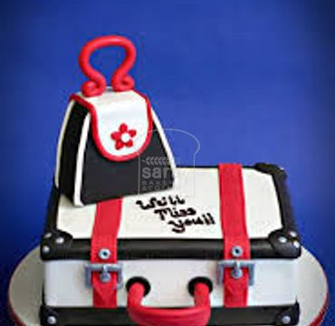 Farewell Suitcase Cake with hand bag FW118