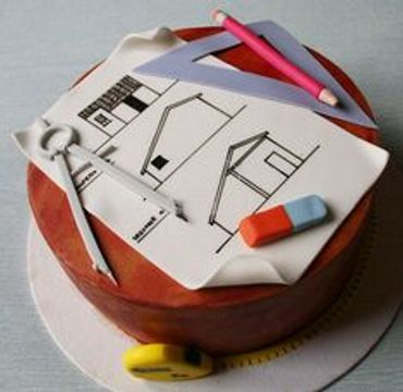Engineer Cake with house sketch ER105