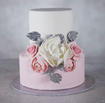White and Pink Two Tier Cake EA122