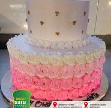 Double Decker Pink Swirl Cake EA129