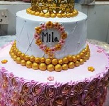 Two Tier Cake with Crown EA136
