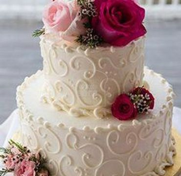 Two Tier Cake with Flowers EA138
