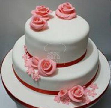 Fondant Engagement Cake EA146