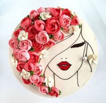 Woman Face with Flowers Cake HR189