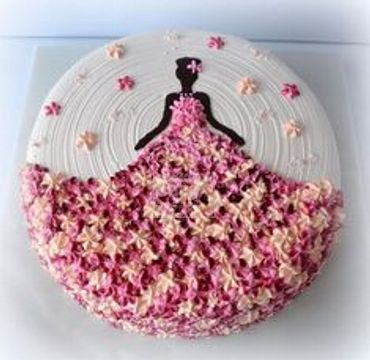 Woman Dress with Flowers Cake HR190