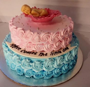 Two Tier Pink and Blue Baby Shower Cake BS109
