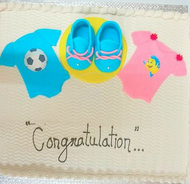 Baby Shower Cream Cake with shoes BS113