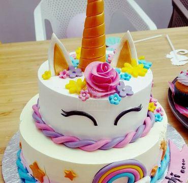 Two Tier Unicorn Theme Cake HR077